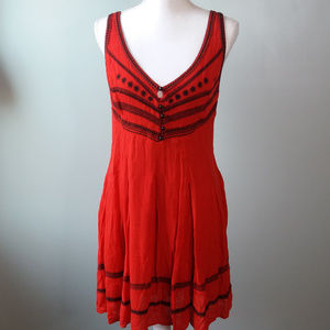 {Free People} Red Sleeveless Strap Back Dress